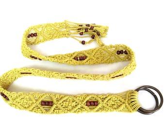 Vintage Macrame Belt, Yellow with Wood Beads
