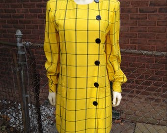 plus size dress / 80s vintage / Kasper ASL/ Sz 4 / yellow black / mini / grid / 44 bust / 40 elastic waist / 35 length / savannahwillow