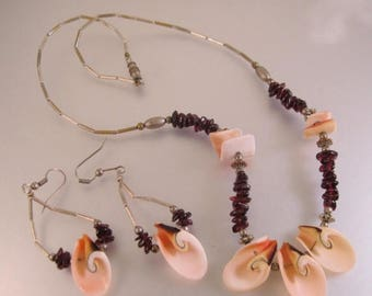 SALE & FREE SHIPPING Genuine Garnet and Shell Necklace and Earrings Set Vintage Jewelry Jewellery