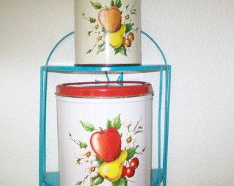 2 Kitchen Canisters, Decoware, Fruit Design, 1960s, vintage, storage