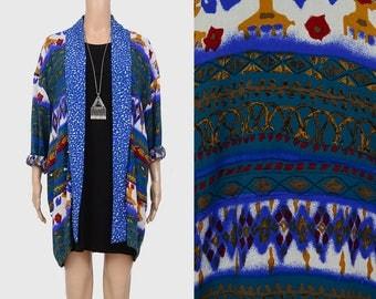 Vintage 90s Ethnic Boho Jacket | Native Bohemian Kimono Jacket | Southwestern Print | 1990s Rayon Draped Oversize Jacket | Small Medium S M