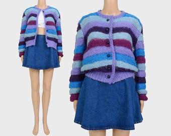 Vintage 70s Striped Cardigan | Fuzzy Mohair Cardigan Wool Sweater | Mod Hand Knit Cardigan | Blue Purple | Small XS S