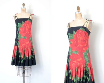 vintage 1960s dress | 60s rose print sundress (small medium s m)