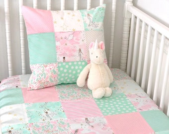 Baby Blanket Nursery Decor Baby Bedding Minky Baby Blanket Mermaid Nursery Baby Quilt Baby Pink Mint Gold White Unicorn Mermaids Baby Girl