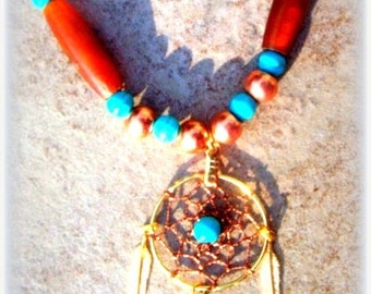 SALE DREAMY Turquoise necklace, Native American made, dream catcher necklace, copper, turquoise, ram horn necklace, Southwestern, beaded, Bo