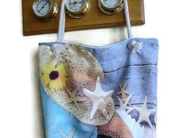 Nautical canvas tote bag with beach scenery,Sea shells , Sea Stars ,nautical decors-beach bag- Book bag-School bag- Lined carry all tote bag