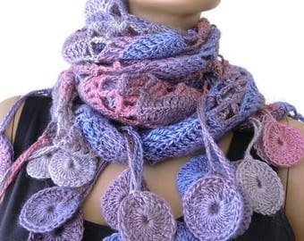Serenity2 Bohemian crochet scarf/shawl- Subdued pink, lavender and beige-multicolor Crochet lace scarf with fringes-Silk and mohair-Handmade