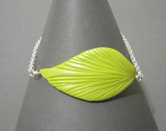 Leaf and Chain Bracelet - Lime Green and Silver - Silver Plated Findings - Colorful Vibrant Fashion - Adjustable Length
