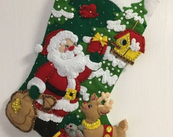 "Bucilla Completed Felt 18"" SANTA'S FREINDS Christmas Stocking"