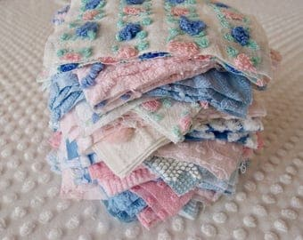 Vintage Chenille Fabric Quilt Squares - 60 - 6 inch squares pink & blue, 3's - 500-181