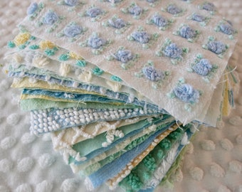 Vintage Chenille Fabric Quilt Squares - 25 - 6 inch squares green, yellow & blue, all different - 500-188