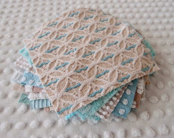 Vintage Chenille Fabric Quilt Squares - 15 - 6 inch squares, aqua & mocha/tan, all different - 500-285