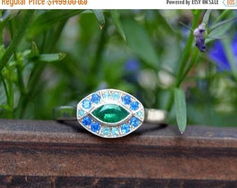 SALE White Gold Marquis Ring, oval gemstone ring, green and blue gemstone ring, fan style ring, emerald, hauynite paraiba tourmaline ring, r