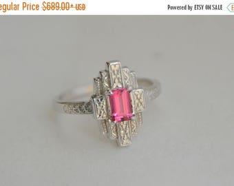 SALE White Gold Art Deco Ring, New York style ring, white gold engraved ring, Vietnamese spinel ring, red gem art deco ring, 1930s style rin