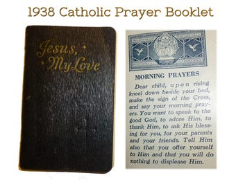 """1938 Miniature Vintage Religious Catholic Prayer Book  """"Jesus, My Love"""". """"An Ideal Prayerbook With Beautiful Colored Illustrations""""."""