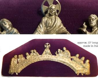 Vintage Last Supper Plaque. Made in Italy. Pewter on Purple Velvet. Very Old. Jesus Christ Twelve Disciples. Detailed Christian Art.
