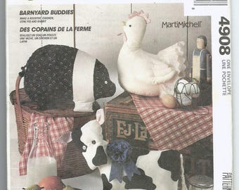 Uncut Sewing Pattern, McCall's 4908, Barnyard Buddies, Stuffed Animal, Pig, Chicken, Cow, Rooster, Bunny, Craft, Home Decor, Childs Toy