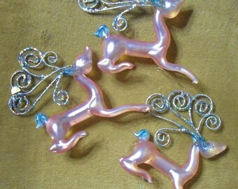 Kurt S. Adler Glass Frosted Pink w/Glitter Sculptured Deer Christmas Tree Ornaments Lot of 3