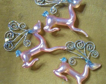 Kurt S. Adler Glass Frosted Pink w/Glitter Sculptured Deer Christmas Tree Ornaments Lot of 3