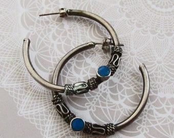 Sterling Silver & Turquoise Hoop Earrings on Etsy by APURPLEPALM