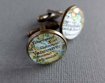 Valentine's Gift for Men, Place Name Map Cuff Links, Romantic Gift for Men, Personalized