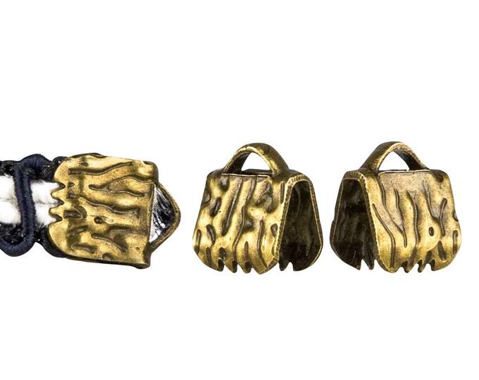 50pcs.  6mm  (1/4 inch)  Antique Bronze Ribbon Clamp End Crimps - Artisan Series