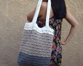 Crochet tote cotton gray biege off white reusable tote avoska natural beach farmers market boho bohemian gift for friend gift under 30