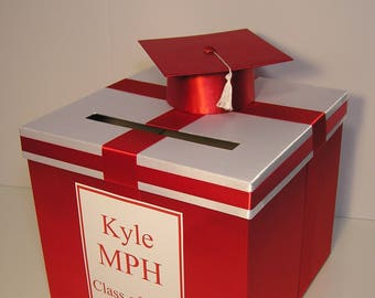 Graduation Card Box Red and White Gift Card Box Money Box Holder--Customize your color (10x10x9)