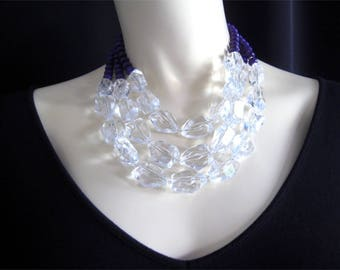 Chunky Multistrand Lucite Crystal & Purple Bead Statement Necklace.  Large Crystal Necklace.  Purple Necklace. Multistrand Necklace. N2000*