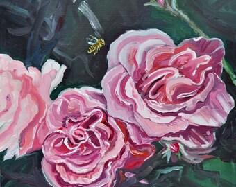 Roses and Bee, Oil on birch door, 16 x 16