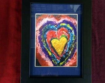 Framed Mullti-Coloured Heart Print