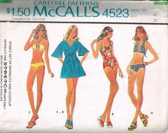 70s Swimsuit and Coverup Pattern McCalls 4523 Size 16 Bust 38 Classic Bathingsuit Bikini Halter Bikini Vintage 1975 Sewing Pattern