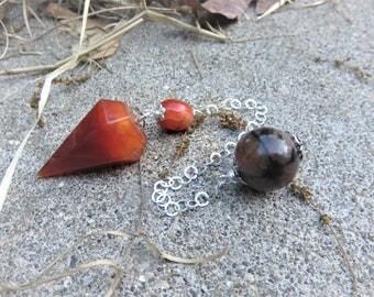 Carnelian pendulum with a Carnelian bead Sterling chain Chiastolite bead on the end