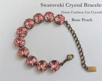 Rose Peach Swarovski Bracelet, 12mm Cushion Cut Crystals, 10 Crystals In A 4 Prong Antique Brass Setting, 2 Inch Extender, Lobster Clasp
