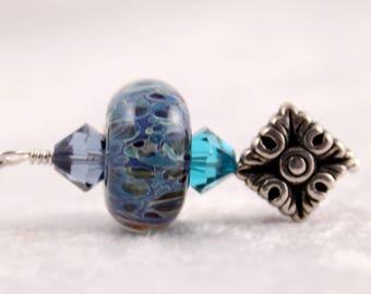 Lampwork Glass Blue Earrings, Periwinkle Green Black, Swarovski Crystals