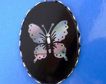 Vintage Glass Pendant Butterfly Large Antique Victorian Cameo in Silver setting D-309