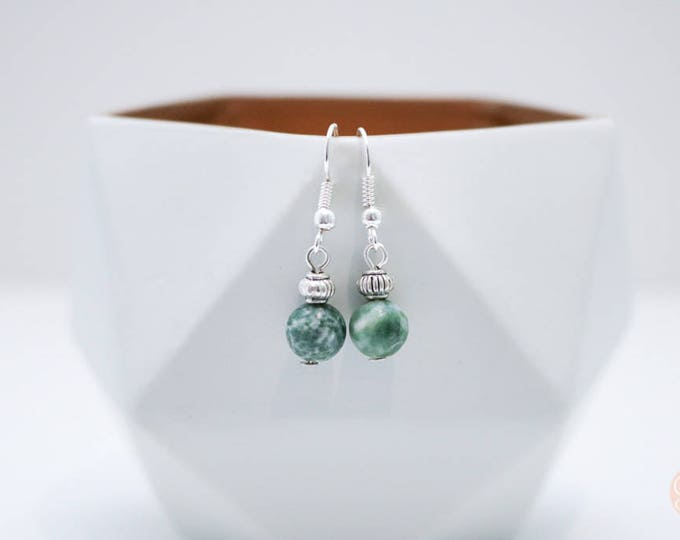 Speckled Jade Irregular Beaded Dangle Earrings.