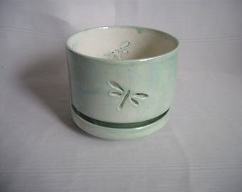Medium Orchid Pot / Planter / With Dragonflies / Mother of Pearl