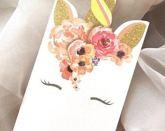Hand Cut Unicorn Baby Shower Invitation, Glitter Unicorn invitation, Floral Unicorn Invitation Set - Sample