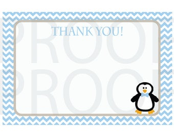 Blue Penguin Thank You Note - Blue and Grey Penguin Thank You Card - Digital Printable Thank You - Birthday Party or Baby Shower
