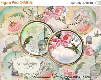 SALE - 30%OFF - Digital MicroSlides - Hummingbirds Vintage Circles 2,5inch - Collage Micro slides - Pocket Mirrors, Pendants, Collage Sheet