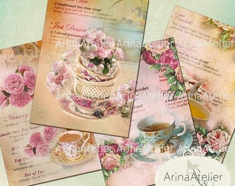 SALE 30% OFF - Tea Cups Cards - ATC Cards - Collage Sheet Download - Digital Tags - Printable Sheet - Digital Images - Digital Collage Image