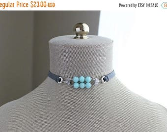 VACATION SALE- Amazonite Choker. You choose leather color.