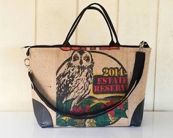 Burlap Coffee Bag Weekender Overnight Carryon bag