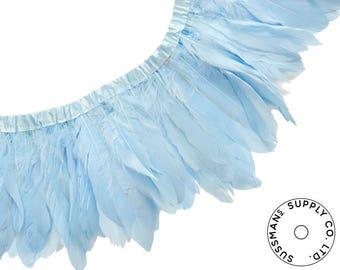 "Feather Trim - Goose Feather Satinette Fringe Trims - Monday Blues - 5""-7"" (1 yard)"