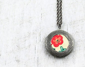 Vintage Inspired Silver Locket Necklace, Antique Silver Locket, Floral Wallpaper Print, Vintage Wall Paper, Victorian Locket, Photo Locket