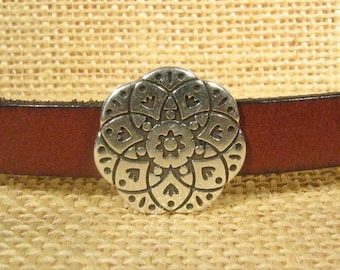 Summer Sale - 25% off Mandala Sliders for 10mm Flat Leather - Antique Silver - SP203- Choose Your Quantity