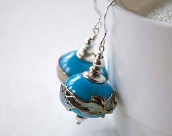 SALE Large Sky Blue Earrings, Light Weight Hollow Earrings, Glass Bead Earrings, Metallic Silver Band Earrings, Lampwork Glass Earrings