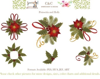 Poinsettia and Holly - Set of 10 Embroidery Designs - Instant Download - Some 4x4 and 5x7 Hoop