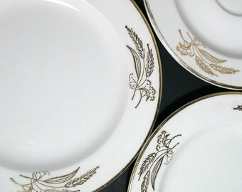 Prairie Gold Lifetime China 2 Bread & Butter Plates 1 Saucer / Mid Century Silver Gold Wheat 3 Small Plates